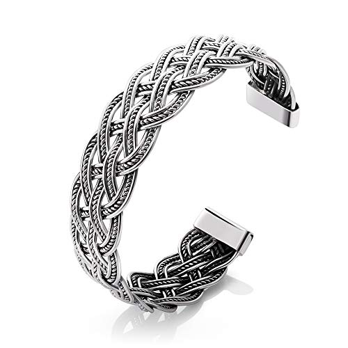 SUVANI 925 Sterling Silver Detailed Woven Braid Celtic Rope Design Open Bangle Cuff Bracelet