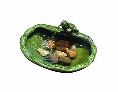 Smart Solar 22300R01 Solar Powered Ceramic Frog Water Feature, Green Glazed Ceramic, Powered By An Included Solar Panel That Operates An Integral Low Voltage Pump With Filter