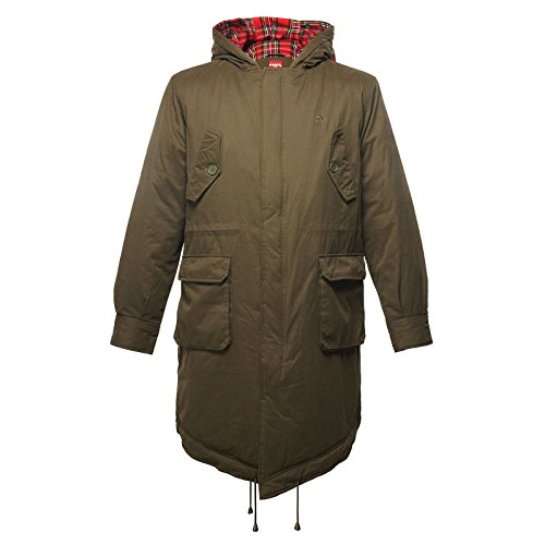 Merc London Fishtail Parka avec capuche Tobias – Vert de Combat – Medium
