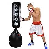MAXSTRENGTH Saco de boxeo de pie de 1,7 m – excelente calidad resistente saco de boxeo, kickboxing, artes marciales, equipo de artes marciales, artes marciales mixtas, fitness y entrenamiento 2018