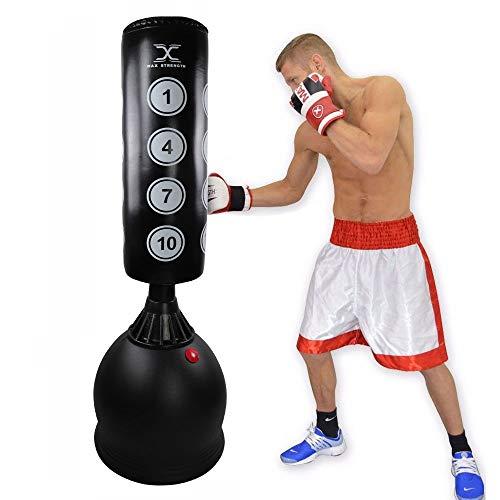 MAXSTRENGTH Sac de Frappe sur Pied pour Arts Martiaux MMA UFC 1,7 m, Black with Targets
