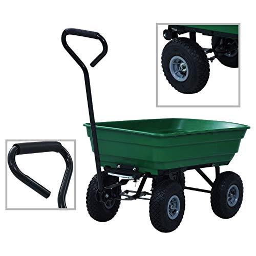 vidaXL Chariot à Main Basculant de Jardin Organisateur Chariot de Transport Remorque de Jardin Chariot de Plage Jardinage 300 kg 75 L Vert