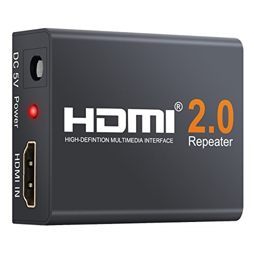 Neoteck HDMI 2.0 Repeater, 4K 2160P 3D HDMI Signal Amplifier Repeater Boost Up to 196ft Transmission Distance Mini Size Metal Shell for PC DVD Sky HD Box PS3 PS4 Satellite Box