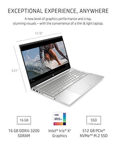 Product Image 3: HP Pavilion 15 Laptop, 11th Gen Intel Core i7-1165G7 Processor, 16 GB RAM, 512 GB SSD Storage, Full HD IPS Micro-Edge Display, Windows 10 Pro, Compact Design, Long Battery Life (15-eg0021nr, 2020)
