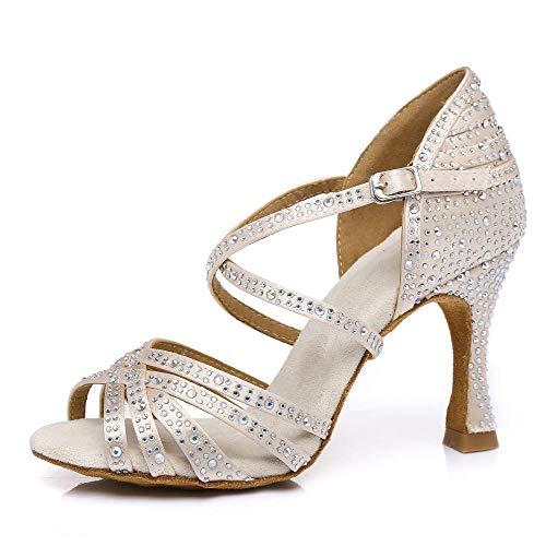 HCCY Hautfarbe mit Diamanten Indoor Latin Tanzschuhe Mode einfachen weichen Boden Damenschuhe, 8,5 cm, 41