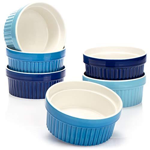 COM-FOUR 6x Plato soufflé - cuenco de cerámica creme brulee - plato de horno - plato de postre y pastelería para, por ejemplo, aleta de ragú - 270 ml cada uno - en diferentes tonos de azul