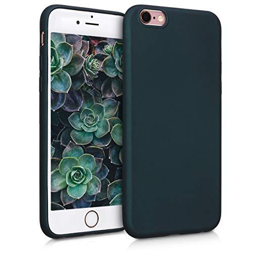 kwmobile Cover Compatibile con Apple iPhone 6 / 6S - Protezione Back Case Silicone TPU Effetto Metallizzato - Custodia Morbida Petrolio Metallizzato