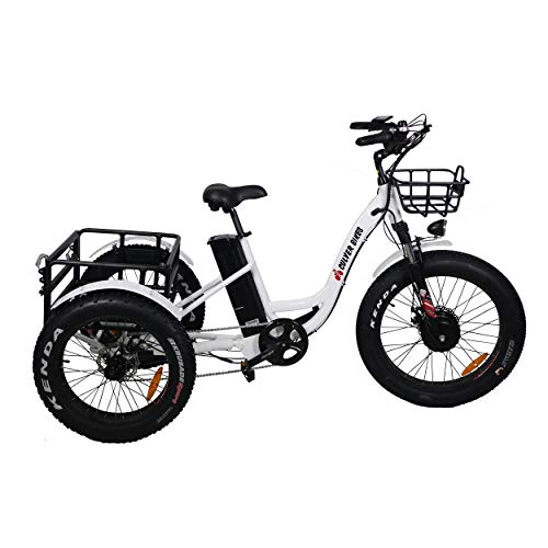 Burch Electric Fat Tire Tricycle/Trike, 500W 48V Hybrid Bicycle/E-Bike with Lithium Rechargeable Battery, Oversize Rear Cargo and Front Basket for Heavy-Duty