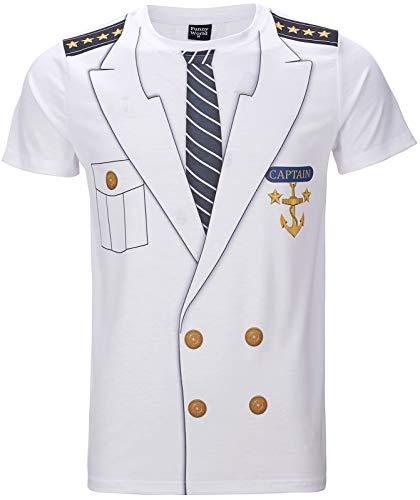 Funny World Men's Captain Costume T-Shirts (M, White)