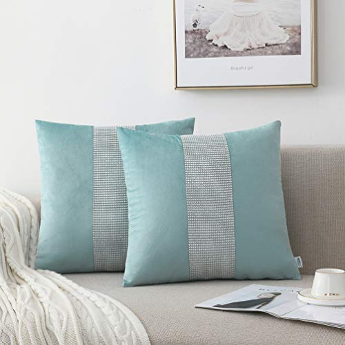 NordECO HOME Set of 2 Decorative Cushion Covers - Velvet Soft Throw Pillow Covers for Bed Home Decoration, 45x45cm, Teal Green