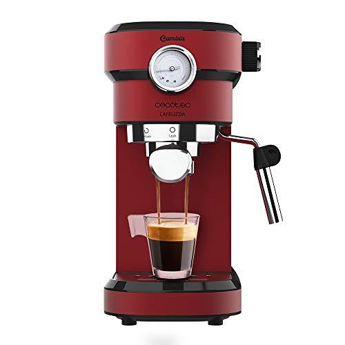 Cecotec Cafetera Express con Manómetro Cafelizzia 790 Shiny Pro. Brazo con Doble Salida y Dos filtros, 20bares de Presión, Depósito extraíble de 1,2L, 1350W, Rojo