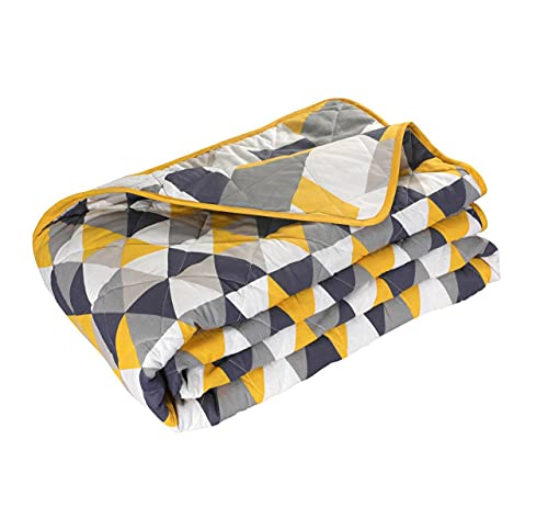 Nimsay Home Tagesdecke, gesteppt, Quarz, Diamant, geometrisch, Grau Ocker, 265 x 265 cm