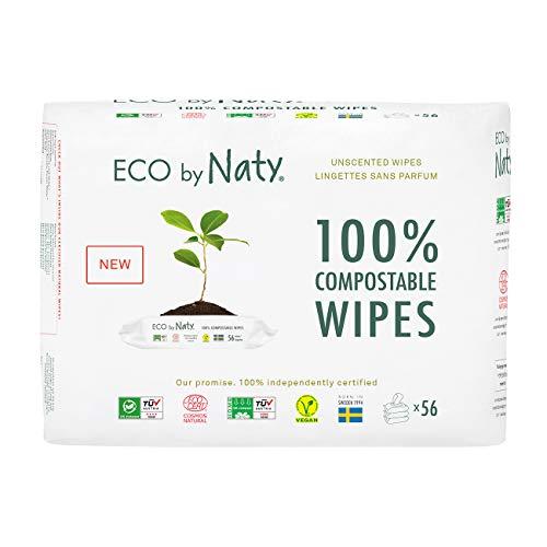 Eco by Naty Salviettine senza profumo per Neonato, Salviette Compostabili a Base Vegetale con lo 0% di plastica, 3 x 56 (168 salviettine totale)