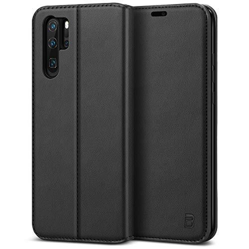 BEZ Handyhülle für Huawei P30 Pro Hülle, Premium Tasche Case Kompatibel für Huawei P30 Pro, Schutzhüllen aus Klappetui mit Kreditkartenhaltern, Ständer, Magnetverschluss, Schwarz