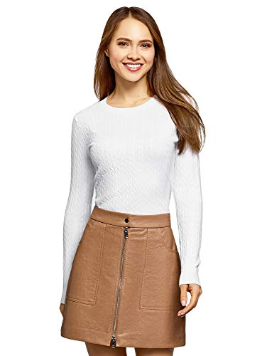 oodji Ultra Damen Taillierter Langarm-Pullover, Weiß, DE 38 / EU 40 / M