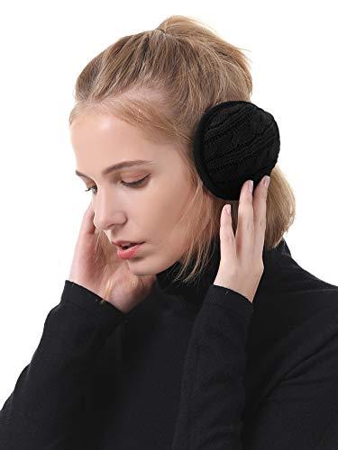 Durio Winter Ohrenschützer Damen Ohrenwärmer Herbst Warme Earmuffs Verstellbar Ear Cover Strick-Schwarz