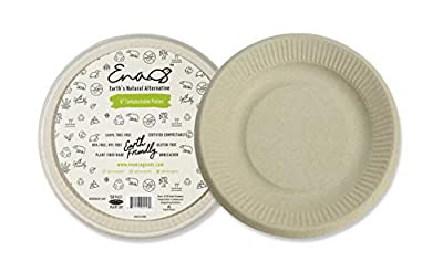 "Earth's Natural Alternative, Eco-Friendly, Compostable Plant Fiber 6"" Plate, 50 Pack, 50 Count"