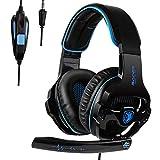 2018 SADES SA810 Gaming Headset Over Ear Ear Auriculares estéreo Bass Gaming Auriculares con control de volumen de micrófono con aislamiento de ruido para Xbox One PS4 PC portátil Mac Mobile