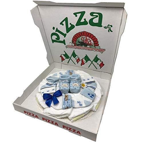 Windelpizza Booties Boy Blau Geschenk zur Taufe, Babyparty oder Geburt.Windeltorte