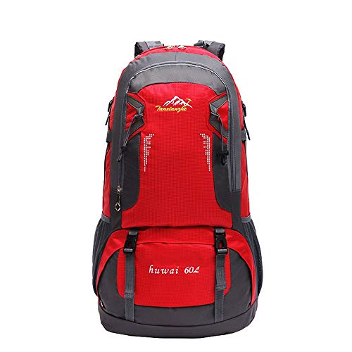 KNJF Wasserdichter Fahrradrucksack Ripstop wasserabweisendem Nylon for Backpacking wasserdichte Wanderrucksack Wandern Camping 60L Extra Large (Color : Red, Size : 61 * 37 * 1cm)