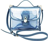 B BRENTANO Clear Top Handle Satchel Crossbody Bag with Removable Wristlet Pouch (Stadium Policy-Compliant Bag) (Blue)
