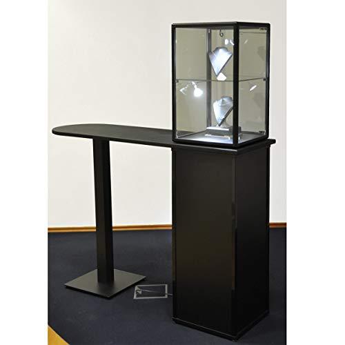 MHN Thekenvitrine Glas abschließbar Verkaufstheke beleuchtet Tischvitrine Glasvitrine halbhoch Ladentheke mit Unterschrank 150 cm breit
