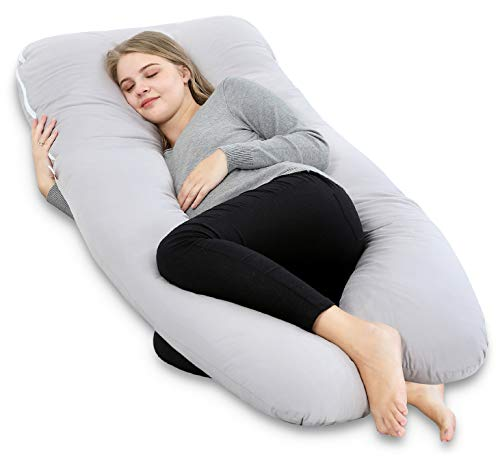 AngQi 55' Full Pregnancy Body Pillow, U Shaped Maternity Pillow for Back Pain Relief and Pregnant Women, with Washable Cotton Cover, Grey