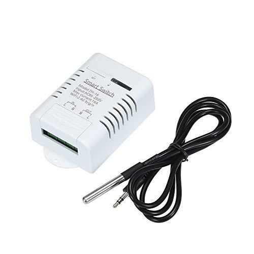 OWSOO WiFi Smart Switch TH-16 16A/3500W Compatible con Alexa Google Home/Nest/EWeLink con Sensor DS18B20 Impermeable Monitoreo de Temperatura