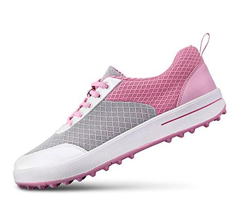 Zapatos de Golf Respirables de Spikeless de Las señoras, Zapatillas de Deporte Casuales de la Malla Ligera de los Zapatos Rosa 38 EU