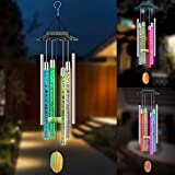 YOUYUAN Outdoor Solar Powered Lights Wind Chimes, Solar Tube Wind Chimes for Outside, Garden, Courtyard, Home Decor Waterproof Light Music Colorful Birthday Gift