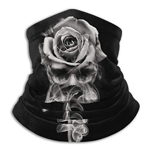 SARA NELL Neck Gaiter,Fire Skull Rose Black and White Windproof Face Bandana Magic Scarf Mask Headwear for Men & Women
