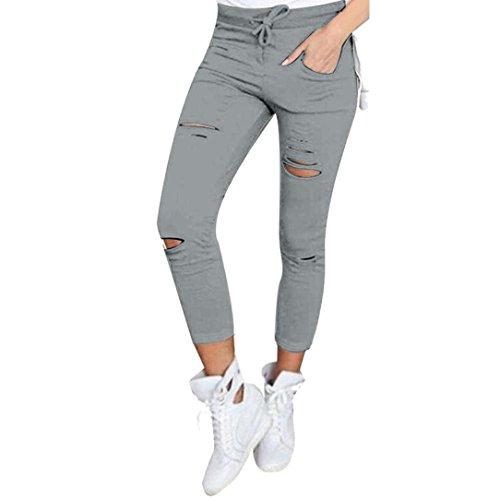Coolster Damen Dünn Ripped Hoch Taille Strecken Bleistift Hose (Size L, Grau)