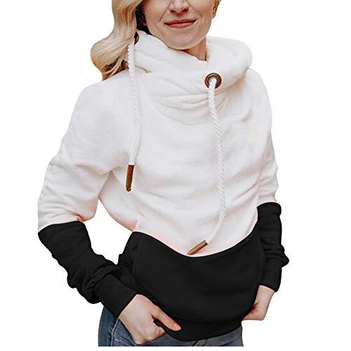 haoricu Pullover for Women Hoodie Sweatshirt Ladies Winter Casual Long Sleeve Drawstring Patchwork Tops Black