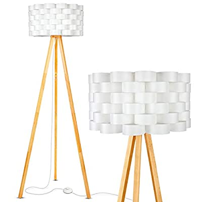 Brightech Bijou LED Tripod Floor Lamp Contemporary Design for Modern Living Rooms - Soft, Ambient Lighting, Tall Standing Easel Survey Lamp for Bedroom, Family Room, or Office - Natural Wood Color
