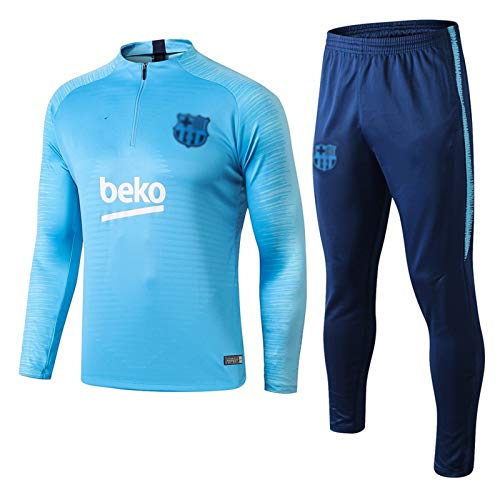 Uniforme De Entrenamiento De La Chaqueta Azul De La Ropa Deportiva De Manga Larga del Club De Fútbol De Los Hombres De La Francia Europea (Top + Pantalones) -POL-B1223(Color:Azul,Size:Grande)
