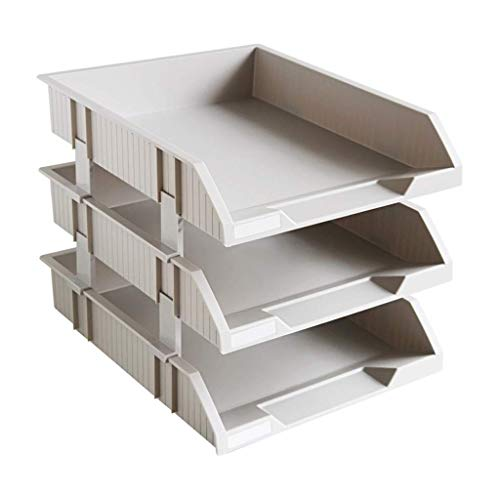 Schreibtisch Organisator/Ordner-Ablagesysteme 3 Tier Office Document Organizer Fach Briefablage Side Load-Kunststoff Desktop File Organizer for Home Office Schule Ablageboxen (Color : Gray)