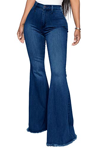 YouSexy Women's Flare Jeans Destroyed Bell Bottoms High Waist Fitted Denim Jeans