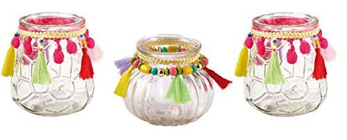 Schmucks HOME Windlicht Boho mit Quasten Teelichthalter Glas im 3er Set Boho Deko Teelichthalter Party Kerzenständer Balkon und Garten (Pink)