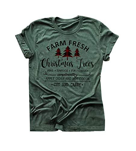 Women Christmas Tree T-Shirt Farm Fresh Letters Printed Xmas Holiday Tee Tops (Green, S)