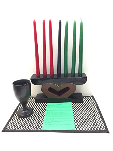Kwanzaa Heart (UJIMA) Celebration Set (Black) - Handmade in Ghana