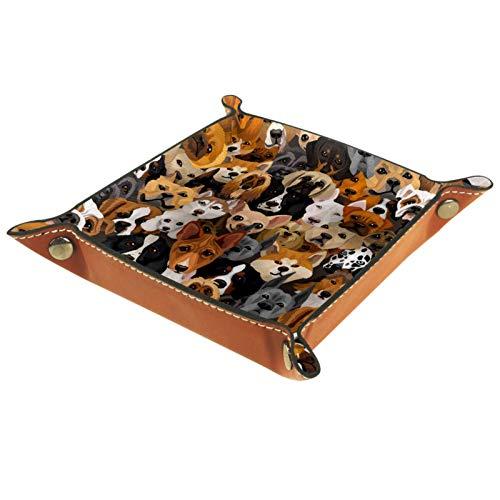 MUMIMI Plato cuadrado de cuero para mujeres y niñas, bandeja para joyas, varios perros, regalo de cumpleaños para el día de la madre