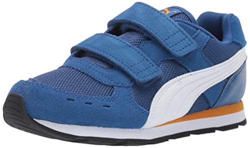 PUMA Unisex-Child Vista Hook and Look Sneaker, Galaxy Blue White-Golden Orange, 3 M US Little Kid