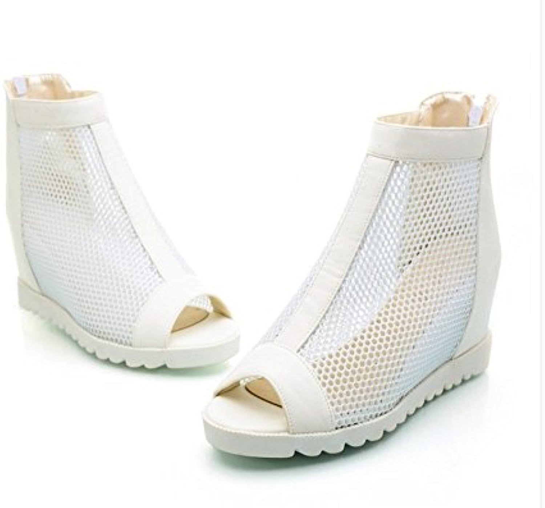 WHW Women's Summer PVC Outdoor Flat Heel Low Heel Fish Mouth Sandals,40,White