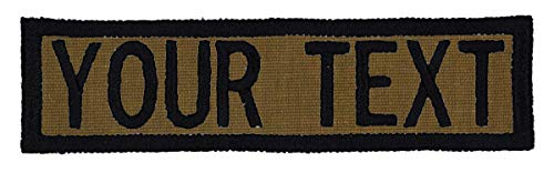 Custom Morale Name Tapes with Border! Over 35 Fabrics to choose! Made in USA!! Coyote Brown, Sew On.