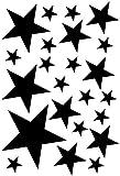 Samunshi® Sterne Aufkleber Set gefüllt 14x2,5cm6x5cm2x7,5cm1x10cm schwarz
