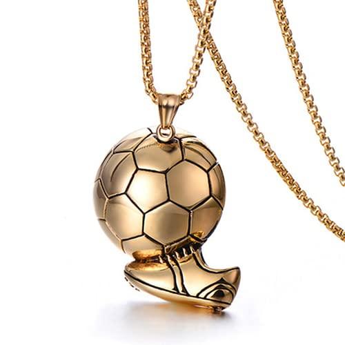 Halskette mit Fußball-Anhänger, Edelstahl, goldfarben, 3D-Fußball, Basketball, für Jungen und Herren