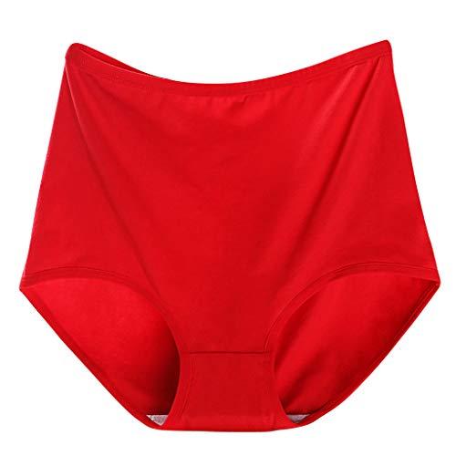 Houshelp Women's Cotton Stretch High Cut Bikini Panty Breathable Panties Seamless Comfort Underwear Panties Red