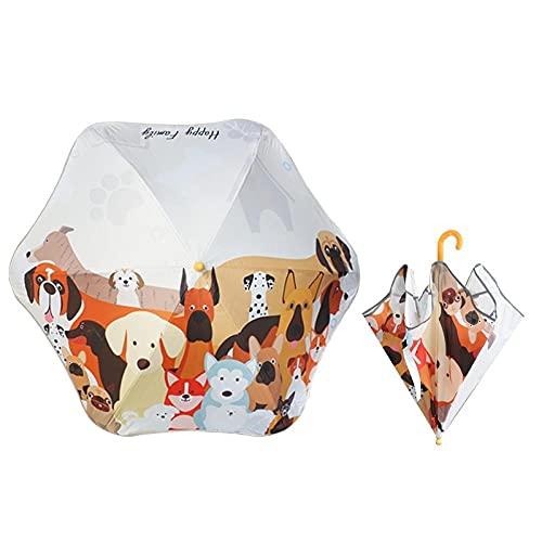 Manico lungo ombrello per bambini uomini e ragazze angoli rotondi del cartone animato barletti, due bambini della scuola primaria, asilo nido, ombrellone-Famiglia Meng Dog