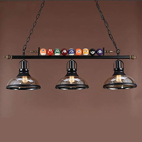 iMeshbean Pool Table Lighting Fixtures Ceiling Lamp for Game Room Beer Party 7' - 8 ' Table,Black Metal Ball Design Billiard Pendant Lamp with 3 Glass Shades