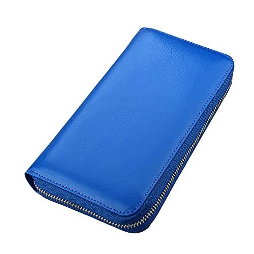 Monedero Billetera para Hombre, RFID Bloqueo de cuero genuino Business Wallet Unisex Billfold Wallet 36 Tarjeta de tarjeta Larga Cartera Zipper Monedero Monedero Bolsa de teléfono Moda Carteras Tarjet